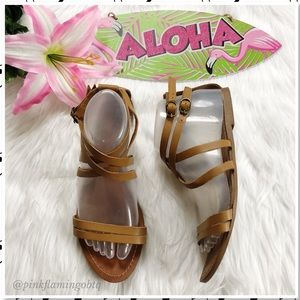 Zara TRF Tan Leather Multi Strap Vamp Flat Sandals